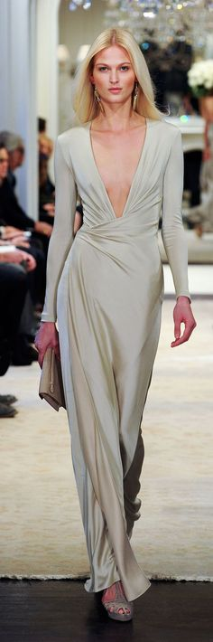 Ralph Lauren Pre-Fall 2014 RTW - shampagne silk afternoon dress