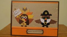 Turkeys and Pilgrim's Thanksgiving by damommma - Cards and Paper Crafts at Splitcoaststampers thanksgivingpunch Diy Thanksgiving Cards, Fall Cards, Holiday Cards, Thanksgiving Punch, Owl Punch Cards, Owl Card, Bday Cards, Embossed Cards, Halloween Cards