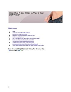 how-to-lose-weight-naturally-using-the-sonoma-diet-3 by Allan F Kane via Slideshare