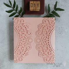 Blush pink DIY wedding invitation. Blank laser cut wedding invitation to decorate yourself. DIY wedding stationery supplies