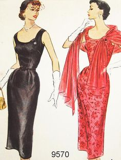 McCalls Dress Pattern 9570 Vtg 1950s cocktail party evening knee black red belt sheath elegant sexy vintage fashion style Misses' by ThePatternSource, $38.00