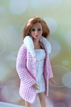 Barbie clothes handmade. Hand-crocheted pink coat and white dress for 12 inch Barbie dolls. Fits regular basics body size. Barbie clothing