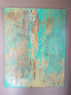 "Biollay Vanina ""L'or bleu"" .70 x 90 cm . Acrylique et technique mixte"