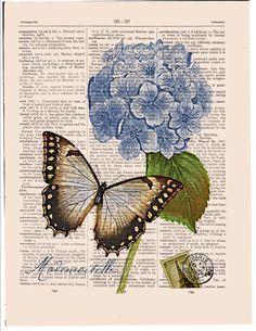 Blue hydrangea Butterfly wall decor print Dictionary art print Sheet music page Guest room decor Insect art - Butterfly Wall Decor, Butterfly Art, Flower Art, Butterflies, Book Page Art, Book Art, Decoupage Vintage, Vintage Art, Vintage Paper