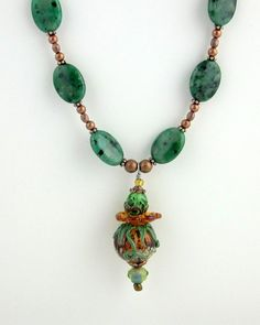 Green and Copper Pendant Necklace Lampwork Necklace by ramonahall, $95.00
