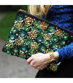 Carolinaengman is wearing: ASOS bag.  Get The Look: ASOS Zip Top Clutch Bag With Floral Embellishment ($60)