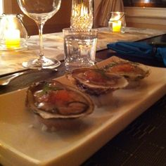 Oysters with homemade blood orange & champagne caviar by the hubby :o)