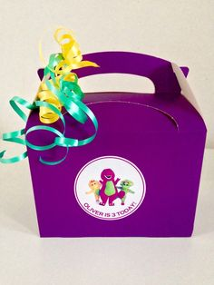 Personalised Barney the dinosaur party favour by MetamorphosisTea