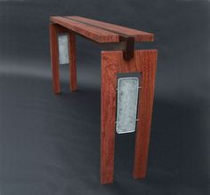 Furniture For Sale - Floating Bubinga Top Console with Cast Glass by Heather and Fred Studios at ArtsyHome Iron Furniture, Fine Furniture, Unique Furniture, Furniture Projects, Table Furniture, Furniture Design, Plywood Furniture, Chair Design, Design Design