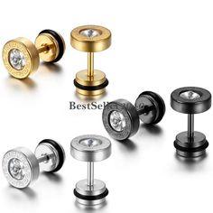 2pcs Stainless Steel Greek Key Pattern Dumbbell Stud Earrings for Men Women