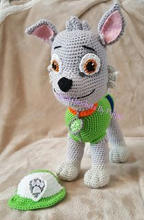 This is a crochet pattern inspired by Rocky from Paw Patrol.