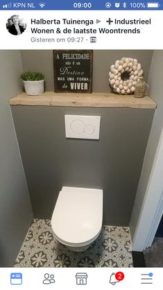 Storage over toiletStorage over toilet ideas for the smallest room in the house!Toilet Inspiration Trend ColorToilet room The Hague (Stone Company)Nice slim toilet with a concrete circle. The toilet and the fountain are matt Small Downstairs Toilet, Small Toilet Room, Guest Toilet, Downstairs Bathroom, Bathroom Plans, Bathroom Layout, Bathroom Interior, Bathroom Ideas, White Bathroom
