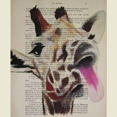 Funny giraffe ORIGINAL ARTWORK Hand Painted Mixed by Cocodeparis, $10.00