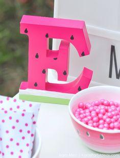 "Kara's Party Ideas Summer Watermelon DIY Birthday Party ""One in a Melon"" Watermelon Dessert, Baby Shower Watermelon, Watermelon Birthday Parties, Fruit Party, Summer Birthday, Diy Birthday, First Birthday Parties, Birthday Party Themes, First Birthdays"