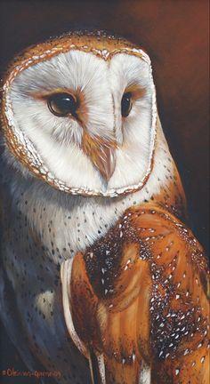 Barn Owl acrylic painting by Carol Heiman-Greene - Animal / Wildlife art.