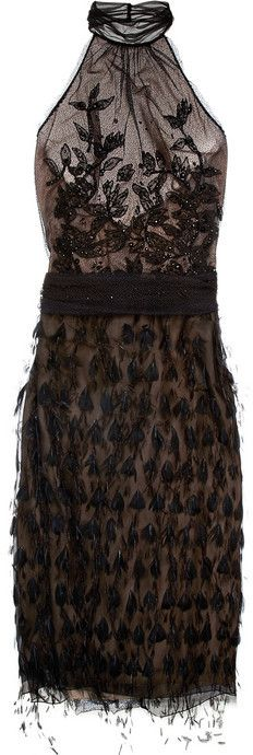 Alberta Ferretti Feather and bead-embellished mesh dress on shopstyle.com