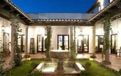 spanish style home designs with court yard | LUXURY HACIENDA-STYLE HOME, INFINITY POOL, LAKE AUSTIN FRONTAGE, LUSH ...