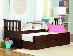 kid child Twin captain bed trundle drawer storage in Espresso cheap