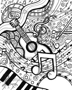 60 ideas drawing ideas music coloring pages for 2019 Coloring Book Pages, Printable Coloring Pages, Coloring Sheets, Doodle Coloring, Printable Art, Doodle Art, Music Doodle, Doodles, Art Prints