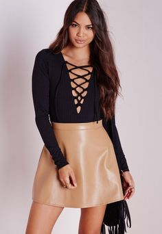 Lace Up Front Bodysuit Black - Tops - Missguided