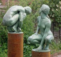 Bronze lost wax Casting #sculpture by #sculptor John McKenna titled: 'Echo and Narcissus (Classical nude Bronze Couple Lovers statues/sculpture)'. #JohnMcKenna