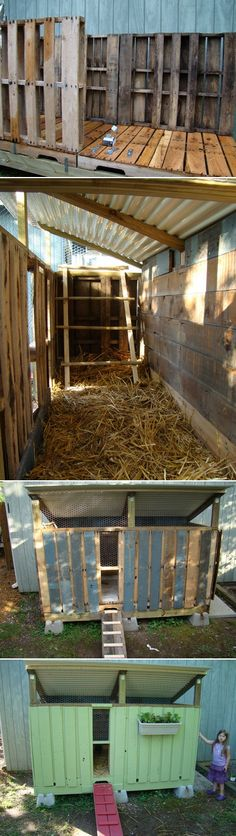 DIY Chicken Coop ... it's completely made from pallets and recycled wood from an old building and playground.