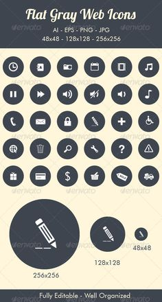Flat Gray Web Icons — Vector EPS #ecommerce #shipping • Available here → https://graphicriver.net/item/flat-gray-web-icons/6651145?ref=pxcr