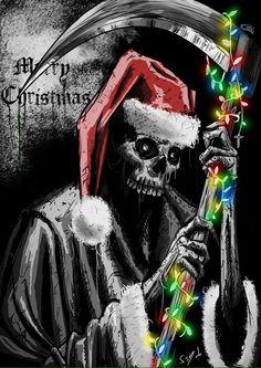 Merry Christmas by *SamDenmarkArt on deviantART Merry Christmas, Dark Christmas, Halloween Christmas, Halloween Humor, Christmas 2017, Halloween Ideas, Christmas Time, Don't Fear The Reaper, Grim Reaper