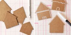 Gingerbread house gift tags - made with cardboard and Galaxy markers