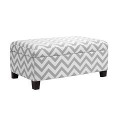 Chevron Storage Ottoman Footstool Pouf Grey and White Fabric Stylish Furniture for sale online Ottoman Footstool, Upholstered Storage Bench, Ottomans, Ottoman Storage, Toy Storage, Bedroom Storage, Teen Bedroom Furniture, Modern Furniture, Furniture Decor