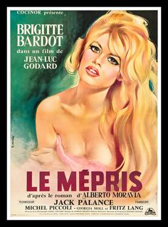 Le Mépris is a 1963 film directed by Jean-Luc Godard, based on the Italian novel Il disprezzo by Alberto Moravia. ~ 'C'est un film simple sur des choses compliquées'~Jean-Luc Godard Films Cinema, Cinema Posters, Cinema 21, Brigitte Bardot Movies, Michel Piccoli, Alberto Moravia, Carlo Ponti, Jack Palance, Fritz Lang