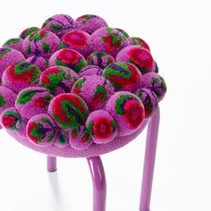 the collection of interior design objects, soft sculptures and extraordinary furniture/ living accessories  made of wool pompons. Pom Pom Crafts, Yarn Crafts, Diy And Crafts, Pom Pom Animals, Pom Pom Rug, Passementerie, Brocade Fabric, Soft Sculpture, Kitsch