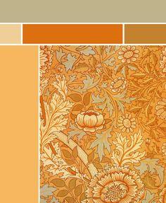 cpa color palette Morris & Co. - Norwich textile pattern; 1889.