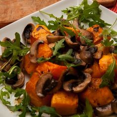 Earthy mushrooms, sweet squash and peppery rocket. Delicious!