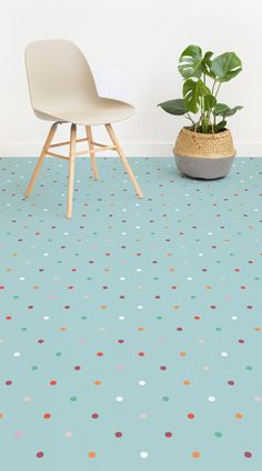Polka is a Polka Dot Vinyl Flooring design that features an assortment of charming, colourful spots against a soft teal background, for a fun yet stylish look that is perfect for a child's bedroom or play area. Our Polka vinyl flooring is thoroughly durable, waterproof and child-friendly. Paired with the right accessories and furniture, this floor can look super stylish and modern, with little effort and cost.#vinyl#flooring inspiration#design#decor