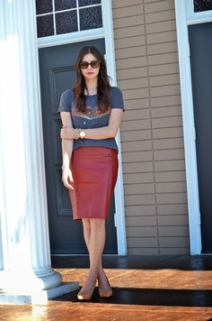 Leather Skirt + Casual Top