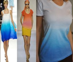 Ombre DIY shirt.  Use Simply Spray Caribbean Blue Soft Fabric Paint.  Spray light at top and darker at bottom.  Easy method!!