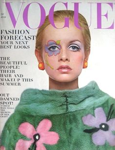 Twiggy as Flower Child in Mink on the covers of Vogue US, July 1967.
