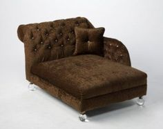 Pink Crystal Tufted Chenille Chaise Dog Bed by PoochieofBevHills
