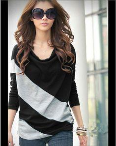 Glamorous Korean Style Split Joint Bat Sleeve T-Shirt