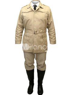 Hansome Light Brown Jazz Cloth Steampunk Safari Jacket For Men - Milanoo.com