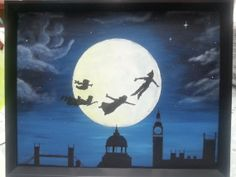 Peter pan flying off to neverland with Wendy John and Michael