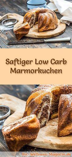 Rezept für einen saftigen Low Carb Marmorkuchen - kohlenhydratarm, kalorienreduziert, ohne Zucker und Getreidemehl