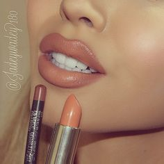 """""""#DoseofColors in """"Poise"""" & #MAC """"Subculture"""" lip pencil The perfect ombré brown nude!"""""""