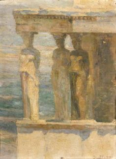 The-porch-of-Caryatids by Thalia Flora-Karavia School of Munich, but her paintings have much of the light and colour of impressionism. Modern Art, Contemporary Art, Greece Painting, Greek Culture, Parthenon, Greek Art, 10 Picture, Chiaroscuro, Gustav Klimt