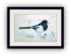 Tiergemälde - Original Aquarell - Elster - 41x62,5 cm - inkl. Passepartout 50x70 cm - ohne Rahmen - 15% Rabattaktion