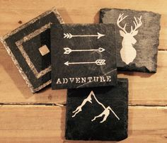 Adventure Slate Coasters Hand-Painted with a Gold Metallic Acrylic Made By Sirona Living #sironaliving