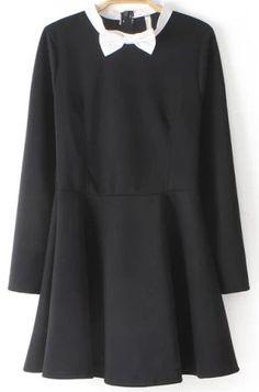 Black Bow Collar Long Sleeve Loose Dress