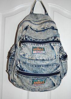 acid washed jean backpack