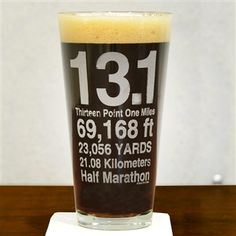 Our Half Marathon 13.1 VIII.I Pint Glass  is the perfect glass to raise to congratulate a runner that has just completed a half marathon. This 20 oz pint glass engraved with one of our exclusive and popular running designs makes a perfect gift for a runne